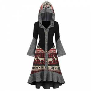Lazzboy Dress Womens Hooded Flare Long Sleeve Solid Patchwork Elk Striped Ethnic Block Plaid Tops Casual Fishtail Tunic Slim Cardigan Christmas Costume Outfit (S(UK 8),Black)