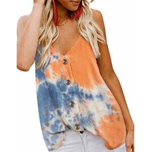 Yidarton Women's Summer Casual Loose V Neck Chiffon Button Down Spaghetti Strap Cami Vest Solid Color Floral Striped Tank Tops Sleeveless Shirt Blouse (ZZ-Orange, Large)
