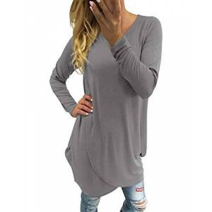 Dorimis Women Long Sleeve Crewneck Tunic Top Irregular Hem Solid Long Shirt Oversized Blouse Casual Mini Dress Grey Size 2XL/UK 18