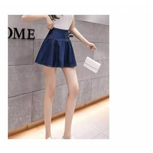 Bzh Soft Deep Blue Denim Pleated Skirt Women Summer Casual High Waist Streetwear Skirts Ladies Short Jeans Sexy (Color : Blue, Size : L)