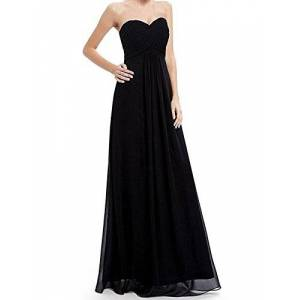 IMEKIS Women Elegant Long Dress Strapless Sweetheart Chiffon Ball Gown Ruched Bust Bridesmaid Wedding Cocktail Evening Party Dress Formal Dance Prom Gown Black UK 22