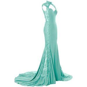 MACloth Women Mermaid High Neck Lace Long Formal Wedding Dress Bridesmaid Gown (UK14, Mint)