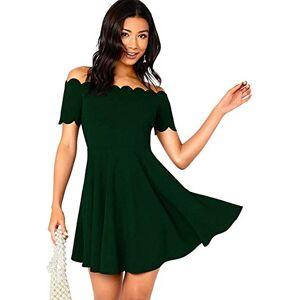 SZZ0306 Women's Off-Shoulder Short-Sleeved Ruffled Skirt Skating Dress-Medium_Green