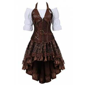 Grebrafan Retro Gothic Steampunk Leather Corset 3 Piece Outfits for Women Bustiers Skirt White Blouse Set (UK(14-16) 2XL, Brown)