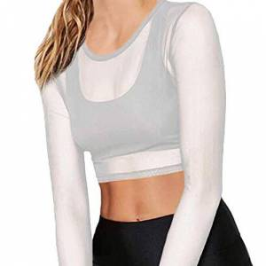 Summer Women's Sexy Sheer Mesh Long Sleeve Girls O-Neckline Crop Top Sexy Tee Blouse Ladys Short top with Exposed Navel (White, L)