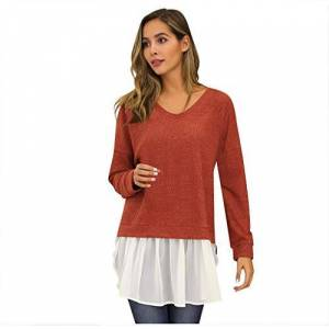 Canifon Women's T-Shirts Casual Loose Tops Long Sleeve Blouses Round Neck Pullover Knitted Stitching Dress Tunics Red