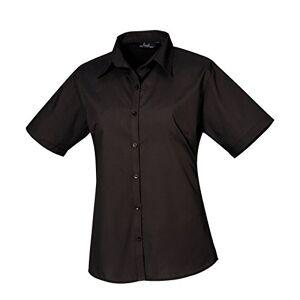 Women's poplin Short Sleeve blouse, Ladies Plain Work Shirt-Black-Size 18