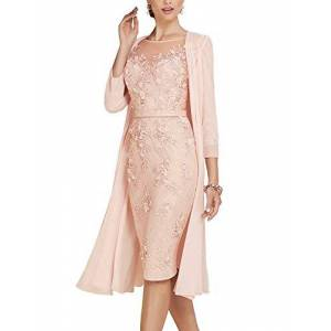 ShineGown Mother of The Groom Dresses Women's 2 Pieces Knee Length Lace Chiffon Gown with Jacket Pearl Pink