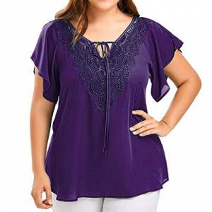 Womens Tops, SHOBDW Fashion Lace V-Neck Solid Plus Size Blouse Summer Daily Loose T Shirt Lace Up Patchwork Short Sleeve Personality Tank Vest(Purple,3XL (UK 22))