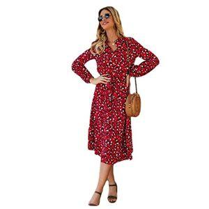 Summer Dresses for Women Casual Dresses for Women Dresses Long Sleeve Women Leopard Print Collared Shirt Midi Dress Elastic Waist Button Swing Elegant-C_M