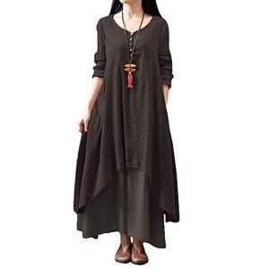 Romacci Women Boho Dress Casual Irregular Maxi Dresses Vintage Loose Long Sleeve Cotton Viscose Dress,Gr.XXX-Large-Coffee
