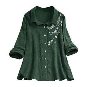 MRULIC Spring Summer Women Casual Short Sleeve T-Shirt Floral Print Patchwork Blouse Shirt Tops Dress (UK-22/CN-4XL, x1-2-Green)