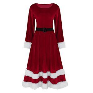 Freebily Women's Mrs Santa Claus Costume Adults Long Sleeve O-Neck Christmas Festival Fancy Dress Red Large