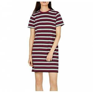Michael Kors Womens Maroon Striped Short Sleeve Crew Neck Above The Knee Shift Dress Size: L