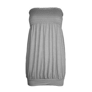 Be Jealous Womens Ladies Celeb Casual Plain Sheering Baggy Jersey Vest Bandeau Boobtube Top/Color: Grey/Size: 18