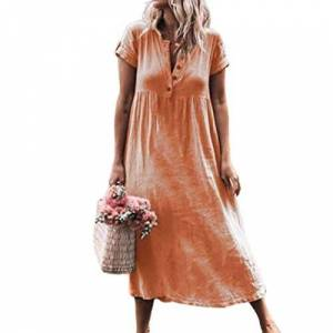 Womens Summer Cotton Linen Solid Baggy Button Daily Casual Dresses Ladies Sundress Dress Orange