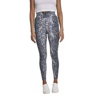 Urban Classics Women's Ladies AOP High Waist Leggings Sports Tights, Multicolour (Grey Snake 02065), 16 (Size: X-Large)