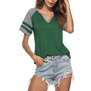 iChunhua Ladies Striped Summer Tops Casual V Neck Baseball Tee Shirts Short Sleeve Blouse Green Large