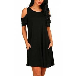 PCEAIIH Women's Summer Cold Shoulder Tunic Top Swing Dresses Loose T-shirt Casual Dress With Pockets (X-Large, Black)
