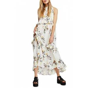 Free People Womens Ivory Floral Sleeveless Crew Neck Maxi Ruffled Dress Size: L