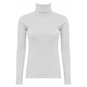 Shelikes NEW WOMENS LADIES GIRLS PLAIN LONG SLEEVES POLO TURTLE NECK STRETCHY SLIM T-SHIRT TOP-White-UK 18 (100% Cotton)