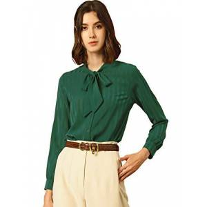 Allegra K Women's Bow Tie Neck Satin Blouse Long Sleeve Button Shirt Large Green