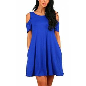 PCEAIIH Women's Summer Cold Shoulder Tunic Top Swing Dresses Loose T-shirt Casual Dress With Pockets (Medium, Royal Blue)