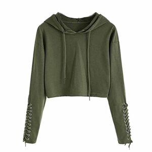 LEXUPE Women Hoodie Sweatshirt Jumper Sweater Crop Top Coat Sports Pullover Tops (L, Army Green)