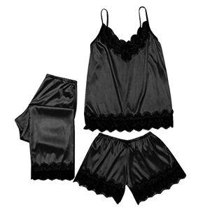 YHWW Sleepwear 3pc Pyjamas Women Lace Satin Sleepwear Lingerie Camisole Bow Trousers Casual Simple Pajamas Femme,Black,L