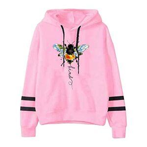 Womens Striped Hoodies Cute Bee Print Long Sleeve Round Neck Tunic Sweatshirt Winter Fall Drawstring Jumper Tops for Ladies Girls Plus Size(Pink,S)