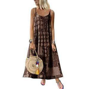 Womens Summer Sleeveless Boho Maxi Dresses Casual Retro Backless Beach Solid Color Loose Spaghetti Strap Long Hippy Gypsy A Line Dress Brown