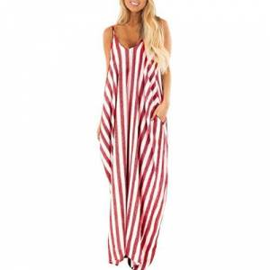 jieGorge Long Dresses for Women, Women Summer Holiday Strappy Striped Long Boho Dress Beach Maxi Dress Sundress, Woman Dress Red Large