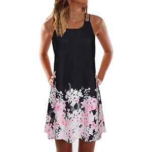 BOIYI Womens Spring Summer Dress Sale Casual Loose Sleeveless A-Line Dress Boho Vintage Floral Printed Dress Evening Party Beach Sun Dress Mini Dresses (Black,XL)