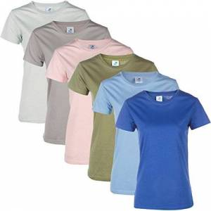 Blu Cherry 3 Pack / 6 Pack Womens Plain Cotton Blank Basic T Shirt Casual Top Assorted Multi Pack (Large, 6 Pack Assorted Multicolor)