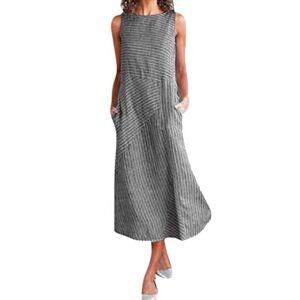 ReooLy Women's Cotton Linen Sleeveless Dress, Round Neck Work Casual Striped Pocket Maxi Dress(A-Black,XXXX-Large)