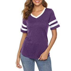 iChunhua Womens Summer V Neck Short Sleeve T-Shirts Casual Blouses Baseball Tshirts Top Purple X-Large