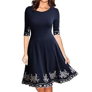 VECDY Women's Day Women's Dress, Casual Exquisite Print Half Sleeve O-Neck Knee-Length Slim Mini Dress Skirt, UK 10~24 Size(24,Navy)