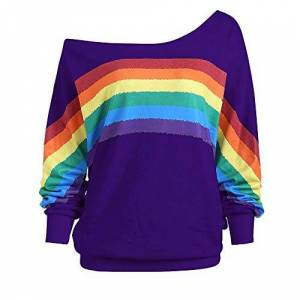 MIRRAY Womens Ladies Sweatshirt Autumn Casual Large Size Long Sleeve Loose Pullover Jumper Rainbow Stripe Print Off-Shoulder O-Neck Blouse Top
