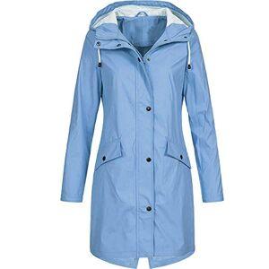 Jiegorge Coats for Women, Women's Solid Rain Jacket Outdoor Hoodie Waterproof Long Coat Overcoat Windproof, Women Jackets and Coats (Sky Blue 5XL)