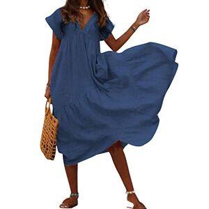 Summer Women Beach A-Line Loose Short Sleeve Dresses Soft Loungewear V-Neck Plus Size Calf Length Pleated Swing Boho Dresses Holiday Sleepwear Dark Blue