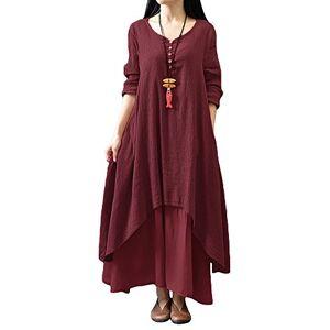Romacci Women Boho Dress Casual Irregular Maxi Dresses Vintage Loose Long Sleeve Cotton Viscose Dress,Gr.XXXX-Large-Red Wine