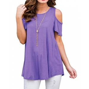 PCEAIIH Women's Short Sleeve Casual Cold Shoulder Tunic Tops Loose Blouse Shirts (XS Light Purple)