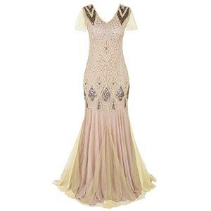 Linkay Ladies 1920s Women Dresses Vintage Lace Party Bead Fringe Sequin Flapper Cocktail Prom Dress Beige