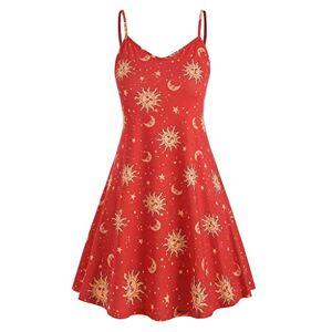 Gofodn Ladies Dresses for Women UK Sexy Plus Size Summer V Neck Moon Star Print Sleeveless Mini Sling Cocktail Dress Red