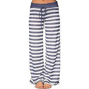 Yaootely Women Trousers Wide Leg Pant High Waist Sweatpants Baggy Pants Stripes Size L