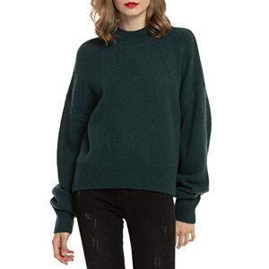 Woolen Bloom Women Pullovers Jumper Sweater Casual Crew Neck Knitted Ladies Tops Long Sleeves Baggy Wool Knitwear, Dark Green, Large/ 16-18
