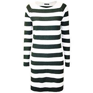Be Jealous Womens Ladies Round Neck 2 Tone Knit Contrast Stripe Long Sleeve Long Mini Dress