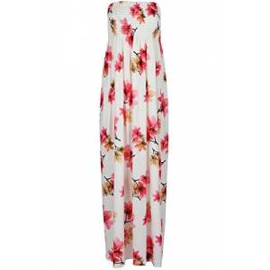 Womens Ruched Sheering Boobtube Strapless Bandeau Floral Long Maxi Dress (Plus Size UK 22, Cream Floral)
