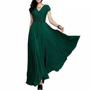 IWEMEK Women Chiffon Bridesmaid Pleated Dresses Deep V-Neck High Waist Boho Long Dress Cocktail PageantWedding Party Prom Ball Gown Deep Green XXXL/UK 22