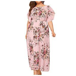 Women Summer Dress,Kingwo Ladies Foral Print Plus Size Maxi Dress Teens Girls O-Neck High Waist Short Sleeve Bandage Long Dress UK Size 18~26 Pink